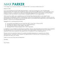 Sales Representative Cover Letter Standart Captures Outside Sample