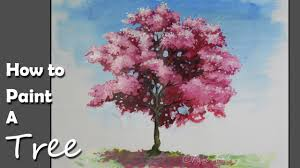 how to paint a cherry blossom tree in acrylic