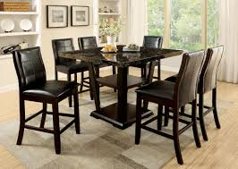 Marble Top Kitchen Table Set Furniture Of America Cm3933pt Cm3339dk Pc Clayton Ii 7 Pieces