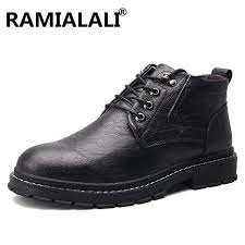 Fold On Fold <b>PU</b> Genuine Leather <b>Men Boots</b> Autumn <b>Winter</b> Ankle ...