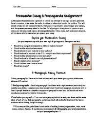 paragraph persuasive essay propaganda assignment rubric