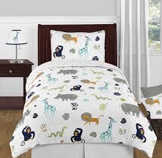 turquoise and navy blue safari animal mod jungle boy or girl twin kid childrens bedding comforter