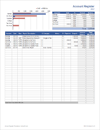 Microsoft Excel Checkbook Template Account Register Template With Sub Accounts In Excel