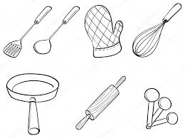 Silhouettes of kitchen utensils Stock Vector interactimages