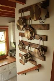 Kitchen:Kitchen Hanging Rack Ideas With Stainless Steel Sauce Pot And  Frying Pan Also Good Looking Pot Rack Design And Wall Mounted Brown  Varnished Wooden ...