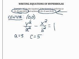 writing equations of hyperbolas