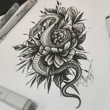тату эскиз змея и цветок Vtattoo