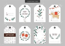 Set Of Christmas And New Year Holiday Gift Tags Labels With