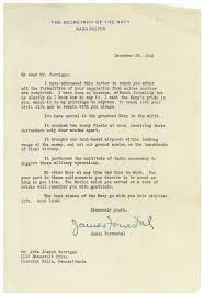 after wwii a letter of appreciation that still rings true npr click here to see the letter james forrestal sent to john joseph corrigan