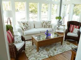 sunroom decor ideas. chairs complete with the cushions and rectangle wooden table on rug also soft white sofa furniture for small interior sunroom decorating ideas decor m