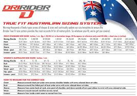 Dririder Riding Gear Sizing Guide Mxstore Help