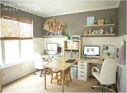 two desk home office. Yet Another Awesome Double Desk Home Office Idea Love That There Is A Table  Extended Where They Connect Nice Little Extra Dining Room In Addition To Best Two Desk Home Office .