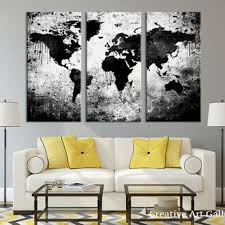 >best white world map wall art products on wanelo large triptych art black white world map canvas print large wor