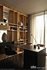 glorious simple home office interior. Glorious Black Interior With Crude Woods Furniture: Comfortable Home Office Space Dark Desk And Simple K
