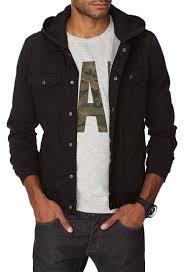 21men hooded denim jacket in black for men lyst