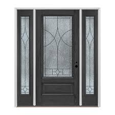 pella entry doors with sidelights. Pella 3/4 Lite Decorative Glass Left-Hand Inswing Charcoal Fiberglass Prehung Entry Door Doors With Sidelights L