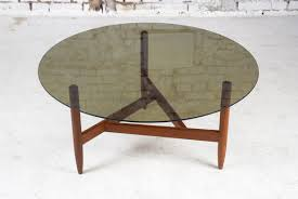 Teak And Glass Coffee Table Teak Coffee Table With Smoked Glass Top For Sale At Pamono