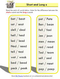 Enchantedlearning.com phonics worksheets to print: Short And Long E Word List