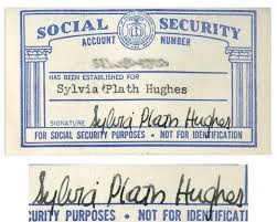 Plath Sylvia Signed Social Security Card