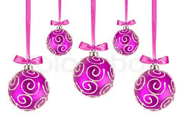 Pink Christmas balls with bows on white background   Stock Photo ...