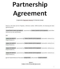 sample of contracts exemples samples partnership agreement doc and pdf