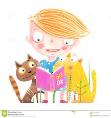 cat and dog reading book funny s and child studying vector cartoon royalty