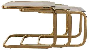 milo baughman brass glass nesting