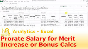 salary range calculator excel for hr prorate employee salary for merit increase or bonus