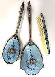 top sterling silver enamel guilloche dresser set
