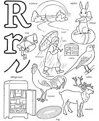 Small Picture Alphabet Words Coloring Activity Sheet Letter R Rainbow Gift
