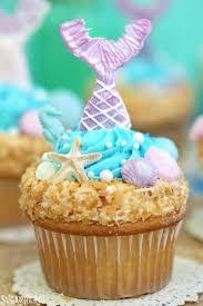 mermaid cupcakes close up of a single mermaid cupcake with a purple mermaid tail