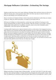 Mortgage Refinance Calculator Estimating The Savings