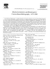 Bioelectrochemistry And Bioenergetics Citation Based Bibliography