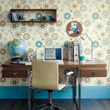 cool home office ideas retro. Cool Retro Home Office Design Ideas With Wall Shelf And Unique Art