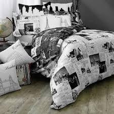 Bold, Black And White Paris, London, Rome, Travel Themed (King) Duvet Cover  Set