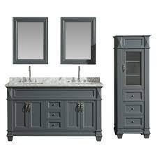 Design Element Dec059c G Wt Cab059 G Hudson 60 Inch Single Sink Vanity Set In Grey With Carrara Marble Top And 65