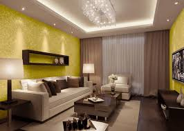 interior yellow leaf pattern wallpaper wood wall shelves chandelier white ceiling ceiling lamp white fabric sofa
