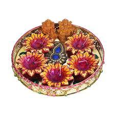 Pooja Ki Thali Design Buy Partyhut Pooja Ki Thali With Gel Diya Thali Ganeshji