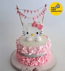Hello Kitty Cake Customized With Flower And Bunting Eat Cake Today