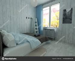 Minimalistisches Schlafzimmer Innenraum Stockfoto Lisunova