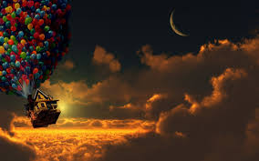 Up House Balloons Up Movie Sunset Balloons House Moon Crescent Moon Clouds