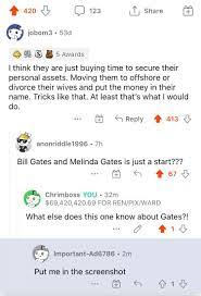 u/jbom3 predicted the Gates divorce. 👀Also 420 upvotes and some anon  wished to be in screenshot. So off to the moon we go I suppose 🔥🚀 : GME