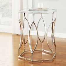 Exciting Davlin Hexagonal Metal Frosted Glass Accent End Table By Inspire Q  With Top 151b044eae71e118aed5e194740