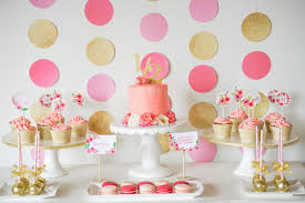 A pink and gold dessert table idea