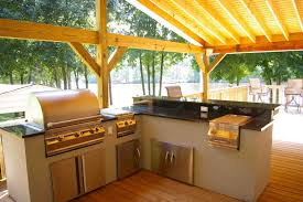 Kitchen:Exterior Extensive Wooden Patio Canopy For L Shaped Concrete Outdoor  Kitchen Island Nature Friendly