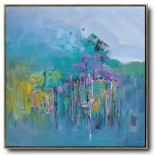 abstract landscape oil painting extra large canvas painting purple grey lake blue