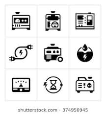 power generator icon. Plain Power Set Icons Of Electrical Generator To Power Generator Icon