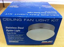 csf60oss arlec ceiling fan stainless steel oyster light kit