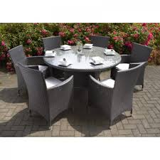 royalcraft roma grey rattan round 6 seater carver set