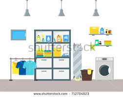 laundromat furniture. cartoon interior laundry room with furniture washing machine and basket housework concept flat design style laundromat